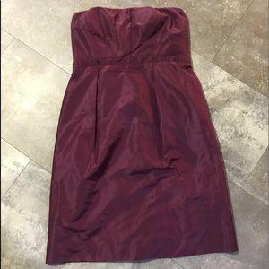J crew burgundy strapless dress
